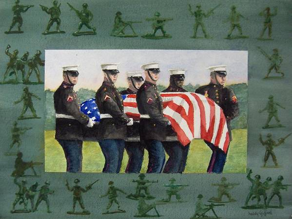 Honor Guard Art Print featuring the painting Army Men by Haldy Gifford