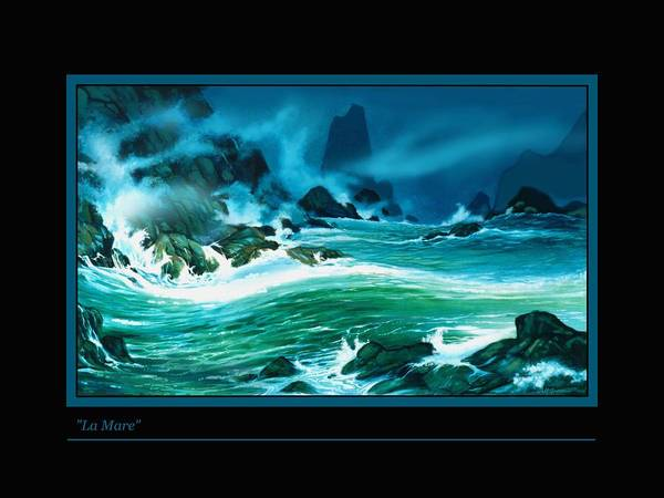 Seascape Wild Ocean Waves And Rocks Night Painting Art Print featuring the painting La Mare by Walt Green