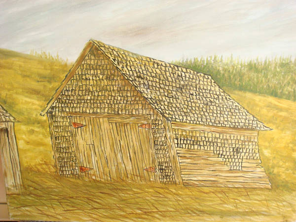 Barn Art Print featuring the painting Leaning In by Norman F Jackson