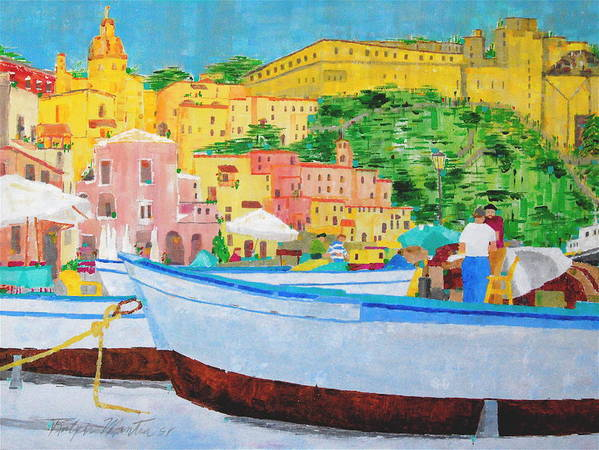 Boats Art Print featuring the painting Procida by Art Mantia