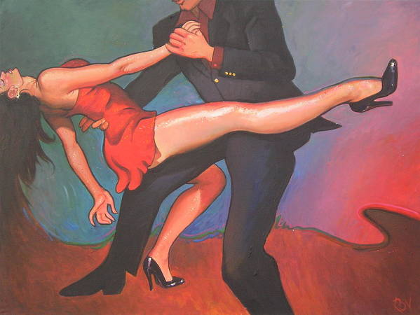 Contemporary Images Dancers Art Print featuring the painting Dip by Ron W McDowell