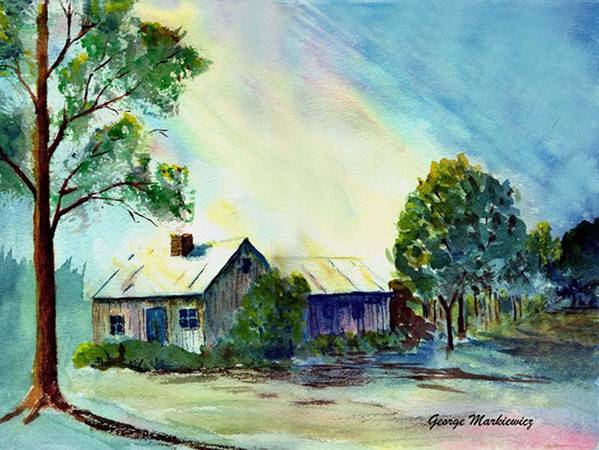 Cabin Landscape Art Print featuring the print Cabin In The Evening by George Markiewicz