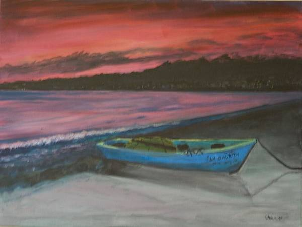 Seascape Art Print featuring the painting Sunset Reflections by Anita Wann