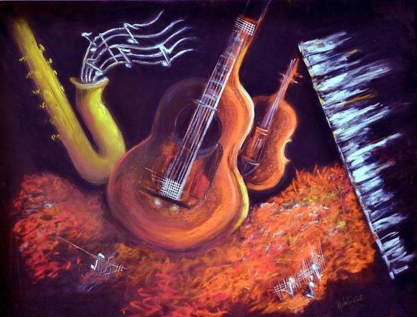 Musical Instruments Art Print featuring the painting Four Play by Natalie Winters