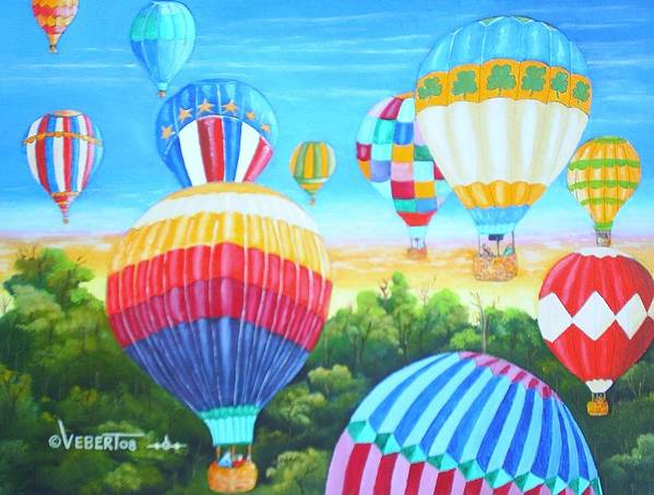 Aviation Art Art Print featuring the painting Fun With Balloons by Dennis Vebert