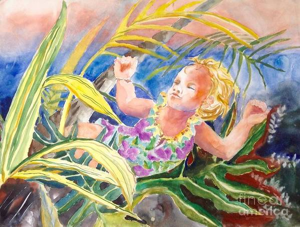 Tropical Portrait Watercolor Botanical Hawaiian Art Print featuring the painting Tropical Water Baby by Diane Renchler