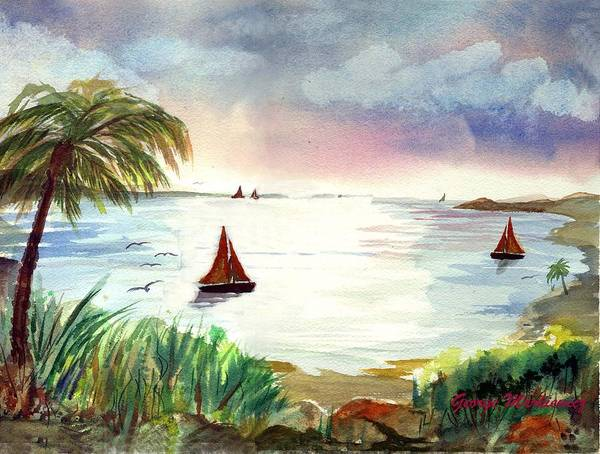 Island Boats Art Print featuring the print Island Of Dreams by George Markiewicz
