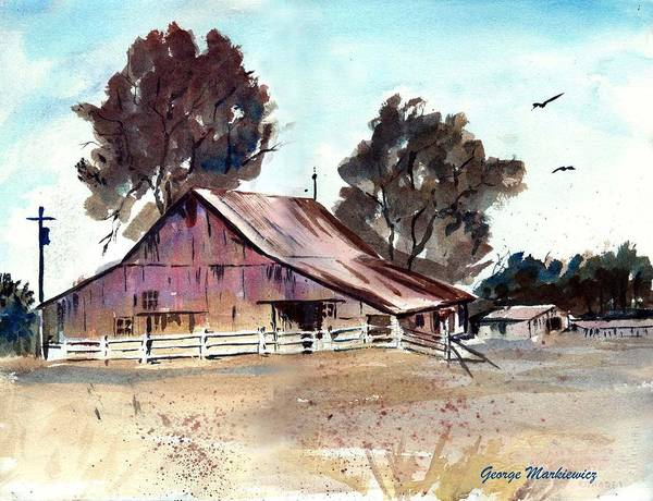 Barn Art Print featuring the print Country Barn by George Markiewicz