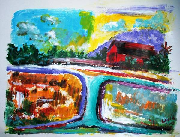 Abstract. Lamdscape.barns Art Print featuring the print Country Mile by Carl Lucia