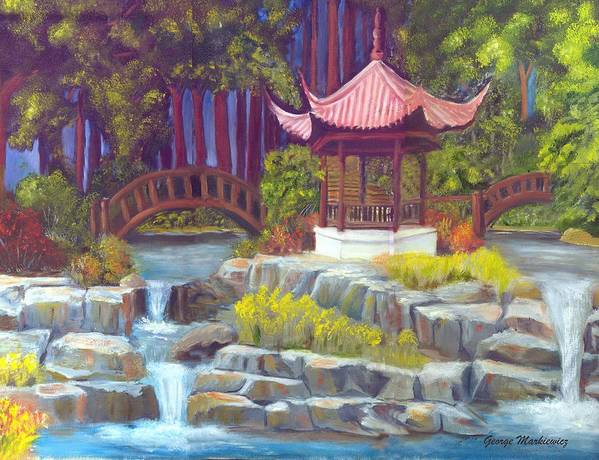 Gazebo Landscape Art Print featuring the print Peppermint Gazebp by George Markiewicz
