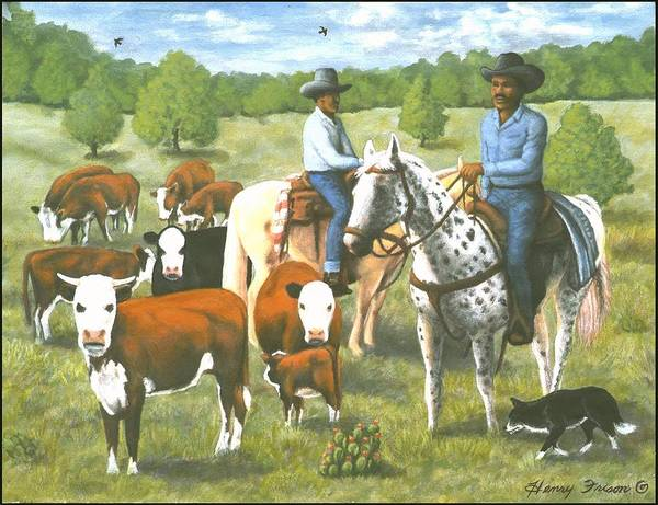 Cowboys On A Roundup Art Print featuring the painting The Roundup by Henry Frison