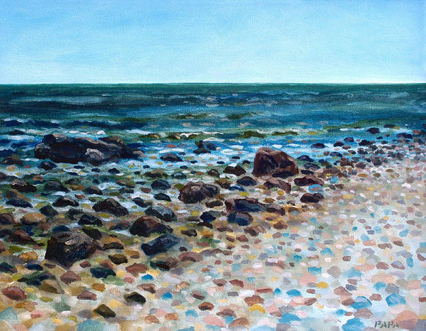 Montauk Point Art Print featuring the painting Tides Out by Ralph Papa