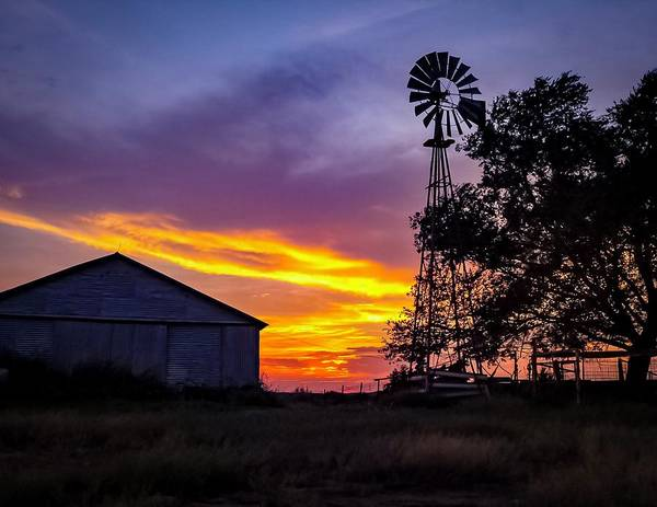 Windmill and Sunset  by Phillip McGee