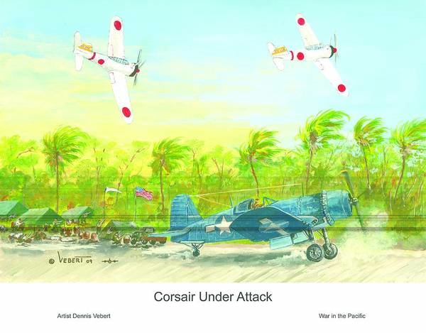 Aviation Art Art Print featuring the painting Corsair At The Ready by Dennis Vebert