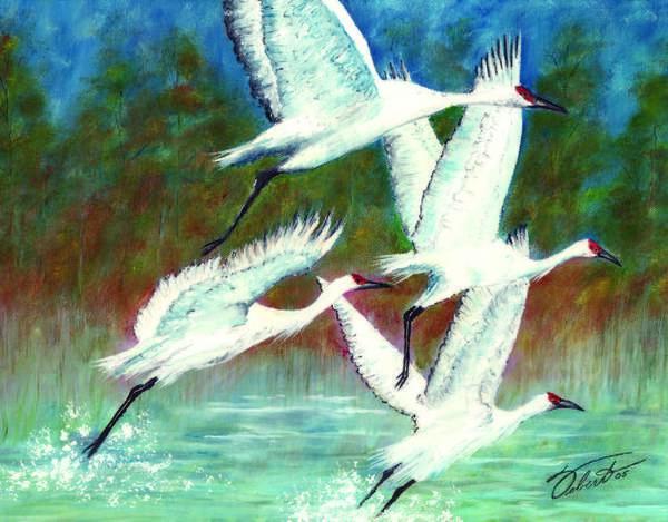 Birds Art Print featuring the painting Cranes In Flight by Dennis Vebert