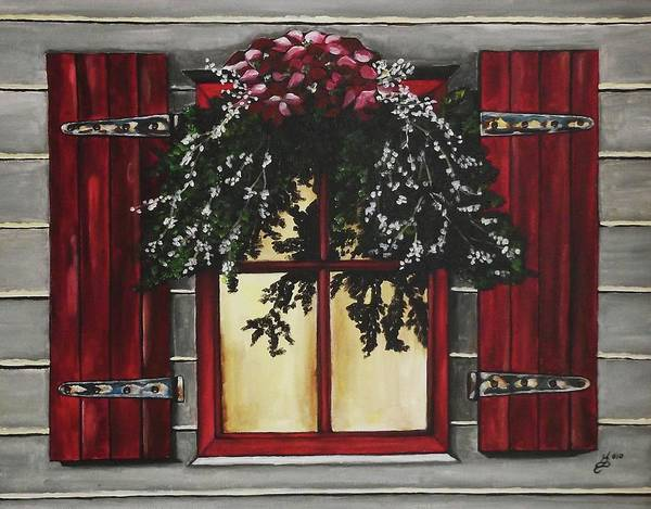Acrylic Art Print featuring the painting Festive Window by Kim Selig