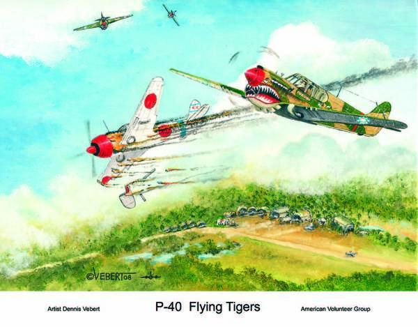 World War Ii Art Print featuring the painting P-40 Flying Tigers by Dennis Vebert