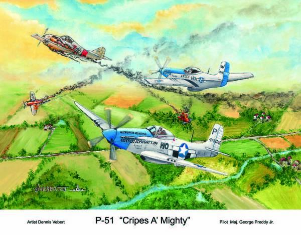 Aviation Art Of World War 11-airplane Art Art Print featuring the painting P-51 Cripes A by Dennis Vebert