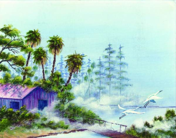 Landscape Art Print featuring the painting Shack In A Swamp by Dennis Vebert