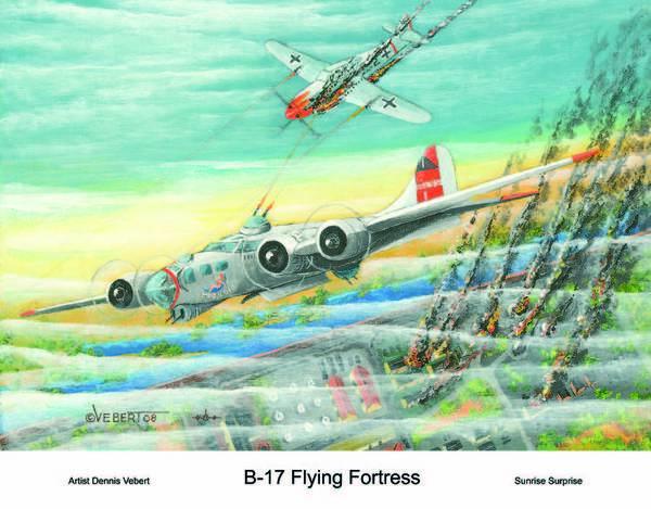 B-17 Art Print featuring the painting Sunrise Surprise by Dennis Vebert