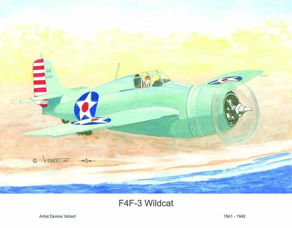 Wildcat Airplane Art Print featuring the painting Wildcat by Dennis Vebert