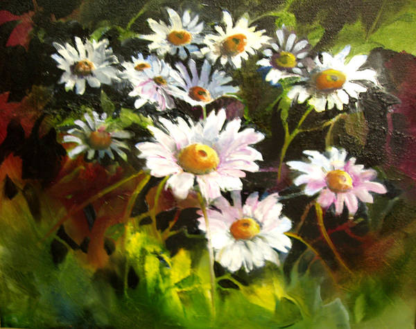 Flowers Art Print featuring the painting Daisies by Robert Carver