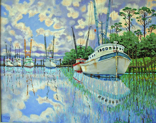 Reflections Art Print featuring the painting Six Shrimp Boats In Off Season by Dwain Ray