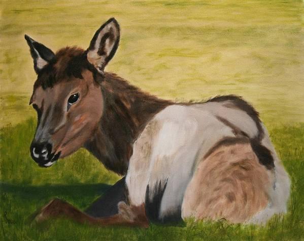 Elk Art Print featuring the painting Baby Elk by Robert Tower