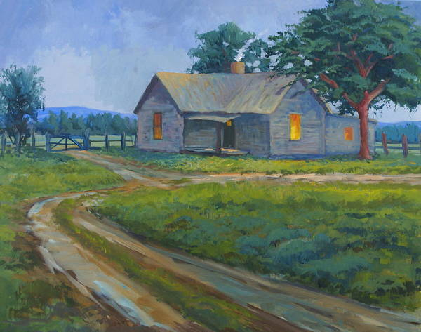Landscape Art Print featuring the painting Cold Wet Day by Bob Adams