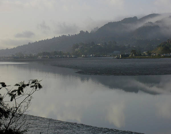 Landscape.west Sausalito.reflection.fog. Art Print featuring the photograph Morning Fog by Vari Buendia