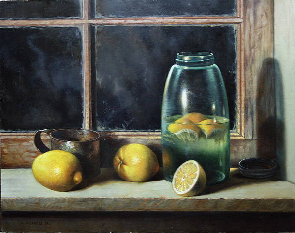 Still-life Art Print featuring the painting Old Tyme Lemonade by William Albanese Sr