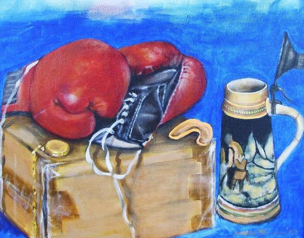 Boxing Gloves Art Print featuring the painting Round Eight by Howard Stroman