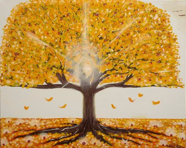 Landscape Greeting Cards Art Print featuring the painting Life Tree-lit Autumn Tree With Yellow Leaves by Millian Glenn
