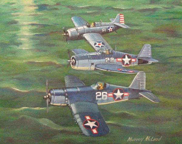 Naval Aviation Art Art Print featuring the painting Partners In Fame 2 by Murray McLeod