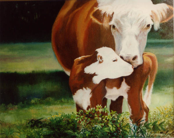 Calf Art Print featuring the painting First Kiss by Valerie Aune