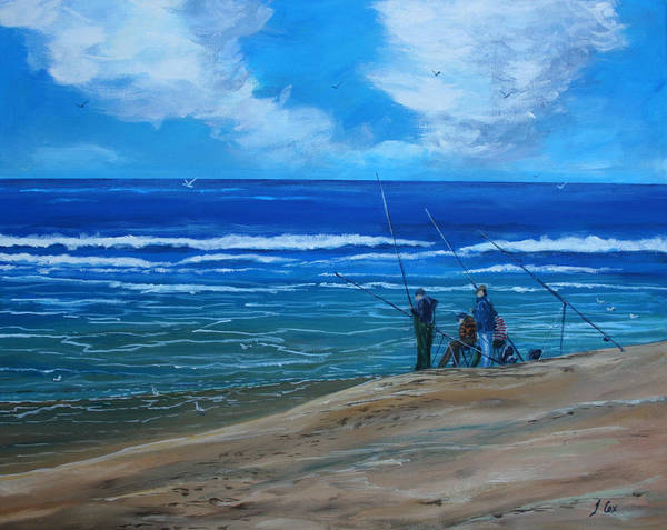 Seascape. Fishing. Art Print featuring the painting Gone Fishing. by John Cox