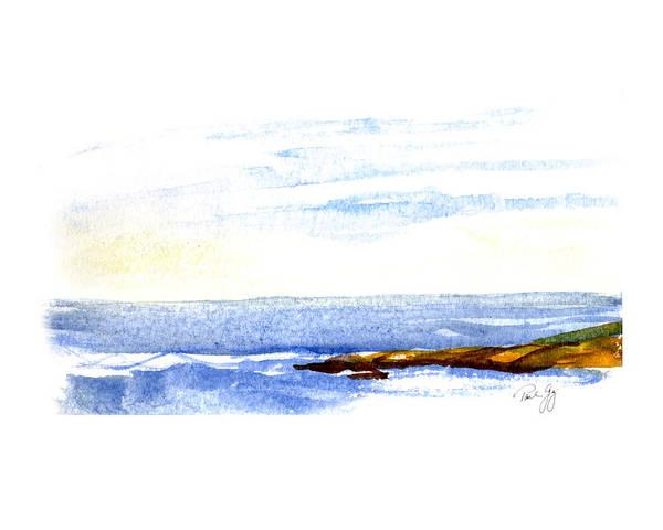 Seascape Art Print featuring the painting Narragansett Rocks by Paul Gaj