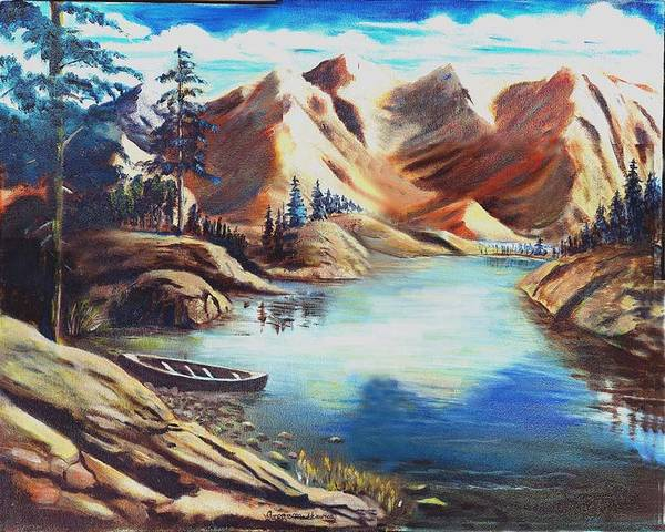 Rugged Mountains Art Print featuring the print Nature by George Markiewicz