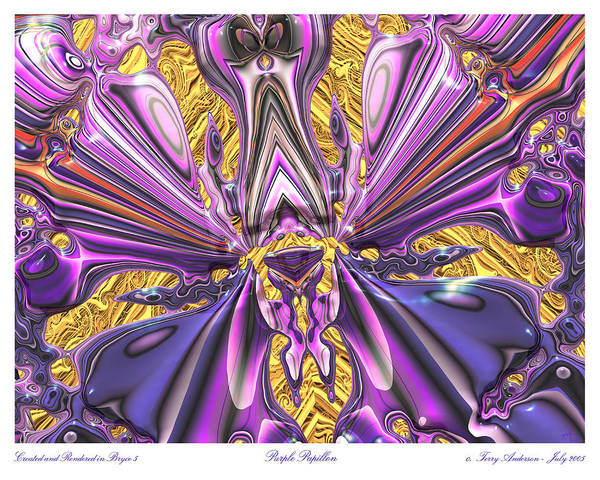 Abstract Art; Large Art Print; Digital Art; 3-d Rendering Art Print featuring the digital art Purple Papillon by Terry Anderson