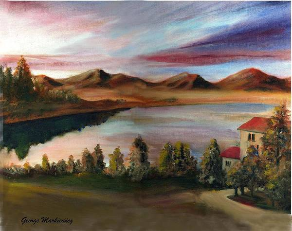 Lake Landscape Art Print featuring the print Sunrise Lake by George Markiewicz
