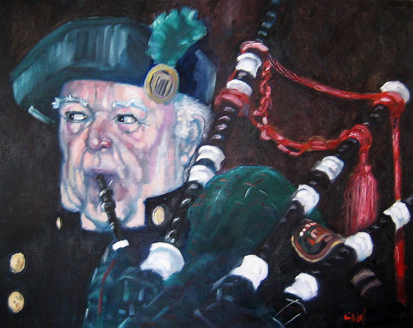 Scottish Irish Ireland Scotland Music Portrtait Art Print featuring the painting The Piper by Kevin McKrell