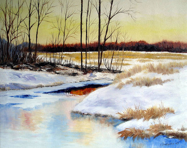 Maine Nature Paintings Original Art Landscape Art Print featuring the painting Winter Stream 1107 by Laura Tasheiko