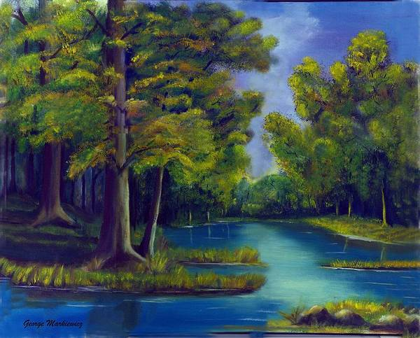 Water Landscape Art Print featuring the print Deep Woods by George Markiewicz