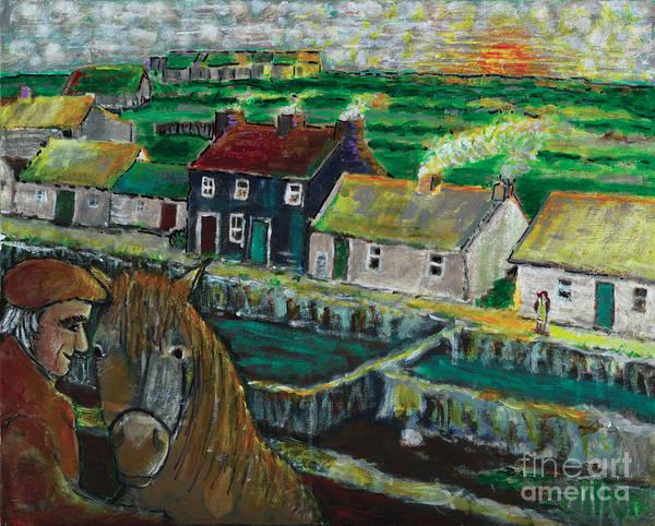 Doolin Ireland Art Print featuring the painting Doolin Ireland Sunset by Richard W Dillon