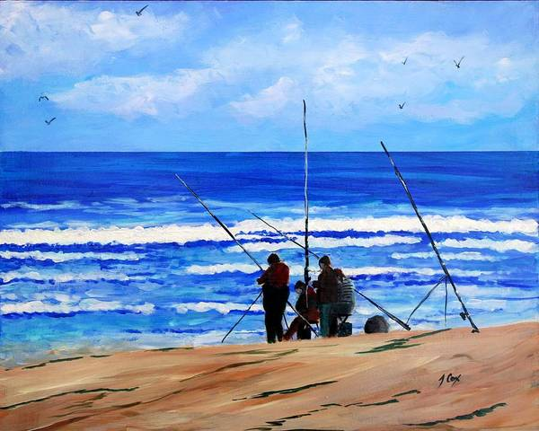 Seascape Art Print featuring the painting Gone Fishing 2 by John Cox