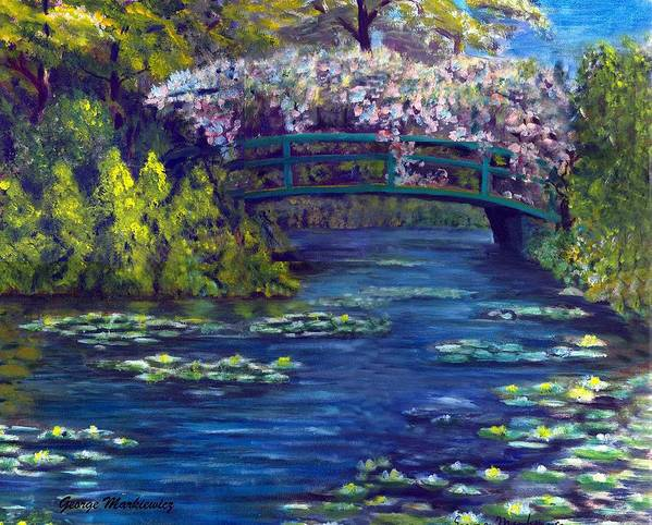 Bridge And Waterlillies Art Print featuring the print Bridge And Water Lillies by George Markiewicz