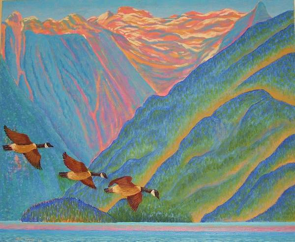 Canada Geese In Coatal Fjord Art Print featuring the painting Coastal Fjord by John Snyder