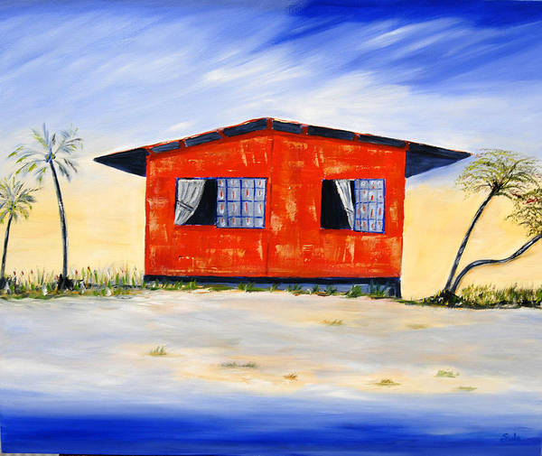 Caribbean Art Print featuring the painting Beach House by Sula Chance