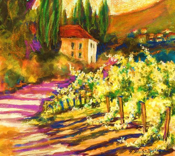 Tuscany Art Print featuring the painting Sunlit Grapevines Sold by Therese Fowler-Bailey