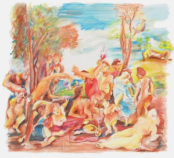 Titian Art Print featuring the drawing Titian Bacchanalia Color by Gary Peterson